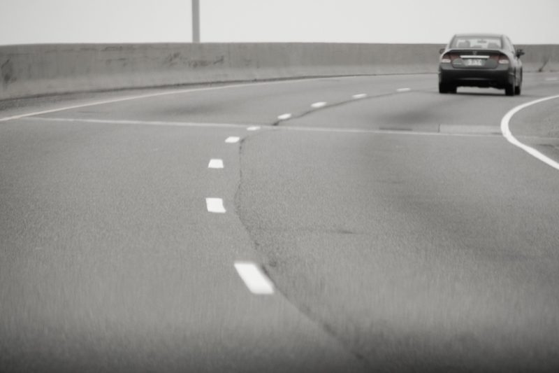 Image of a car on a highway at a distance